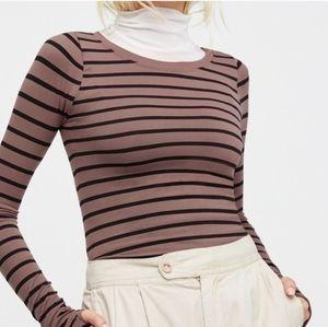 Free People Striped Long Sleeve Top